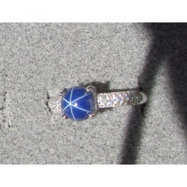 VINTAGE LINDE LINDY 7MM RND CF BLUE STAR SAPPHIRE CREATED RING RD PLATE .925 S/S #1 image