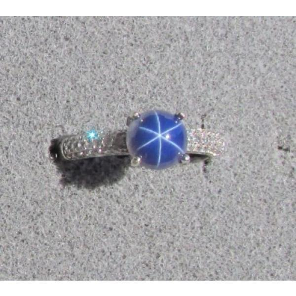 VINTAGE LINDE LINDY 7MM RND CF BLUE STAR SAPPHIRE CREATED RING RD PLATE .925 S/S #2 image
