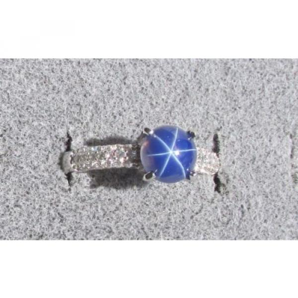 VINTAGE LINDE LINDY 7MM RND CF BLUE STAR SAPPHIRE CREATED RING RD PLATE .925 S/S #3 image