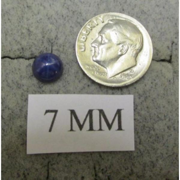 VINTAGE LINDE LINDY 7MM RND CF BLUE STAR SAPPHIRE CREATED RING RD PLATE .925 S/S #4 image