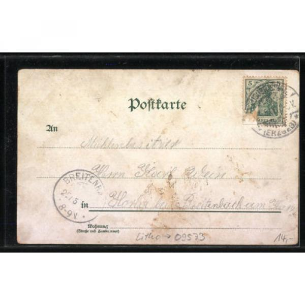 tolle Lithographie Augustusburg, Totalansicht, Schloß, Schloß-Linde 1906 #2 image