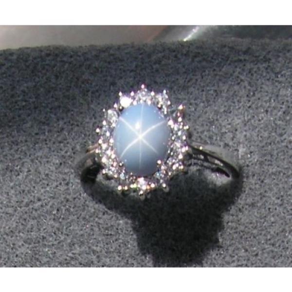 VINTAGE LINDE LINDY SIGNED LT AZURE BLUE STAR SAPPHIRE CREATED HALO RING RDPL SS #1 image