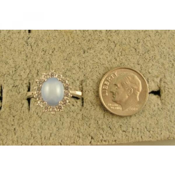 VINTAGE LINDE LINDY SIGNED LT AZURE BLUE STAR SAPPHIRE CREATED HALO RING RDPL SS #6 image