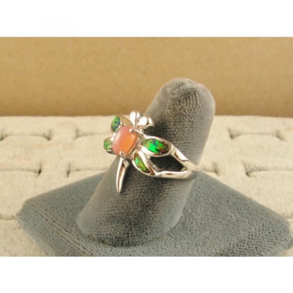 VINTAGE LINDE LINDY SALMON PINK STAR SAPPHIRE CREATED DRAGON FLY RING RP .925 SS #2 image
