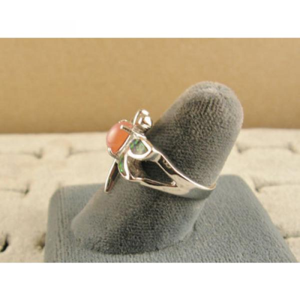 VINTAGE LINDE LINDY SALMON PINK STAR SAPPHIRE CREATED DRAGON FLY RING RP .925 SS #5 image