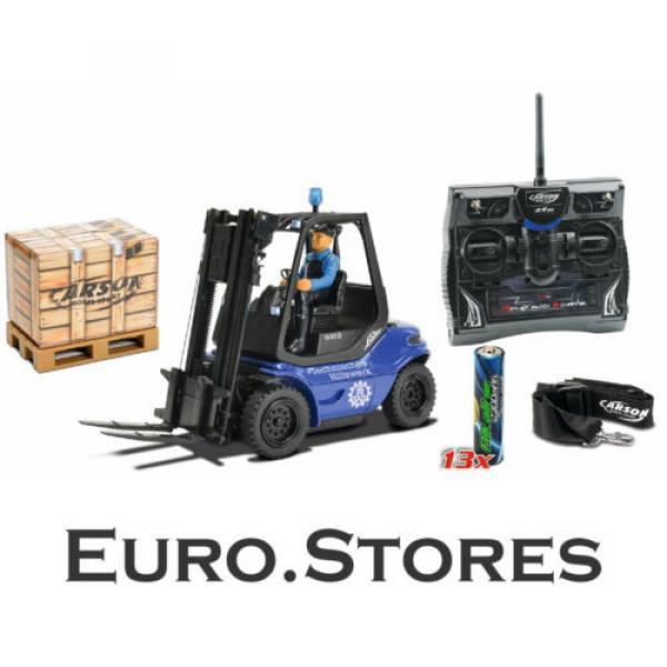 Carson Blue Forklift Linde H 40 D + Pallet Cargo RC Model Car 1:14 Genuine New #1 image
