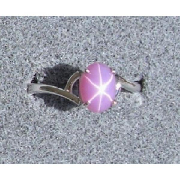 VINTAGE LINDE LINDY DUSKY ROSE STAR SAPPHIRE CREATED BYPASS RING RD PLT .925 SS #1 image