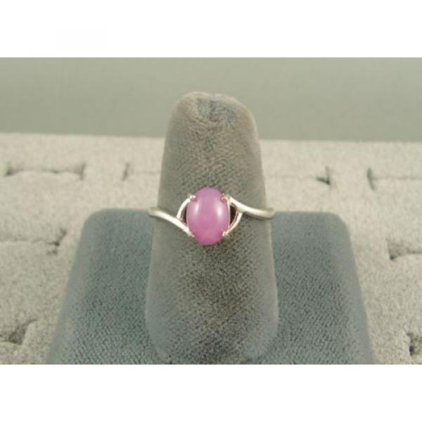 VINTAGE LINDE LINDY DUSKY ROSE STAR SAPPHIRE CREATED BYPASS RING RD PLT .925 SS #4 image