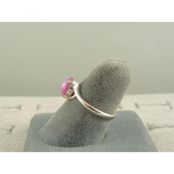 VINTAGE LINDE LINDY DUSKY ROSE STAR SAPPHIRE CREATED BYPASS RING RD PLT .925 SS #5 image