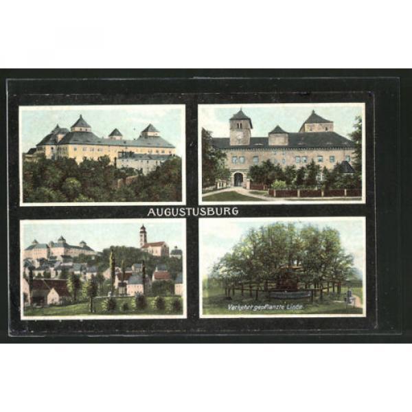 schöne AK Augustusburg, Panorama, Schloss & verkehrt gepflanzte Linde 1908 #1 image