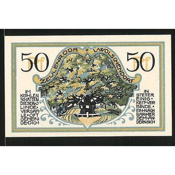 Notgeld Zeulenroda 1921, 50 Pfennig, Stadtwappen, Linde in Wolschendorf #1 image