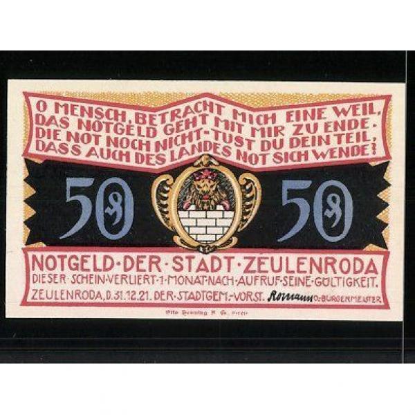 Notgeld Zeulenroda 1921, 50 Pfennig, Stadtwappen, Linde in Wolschendorf #2 image