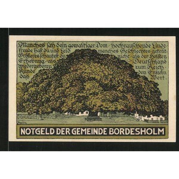 Notgeld Bordesholm 1921, 50 Pfennig, Stadtwappen, die große Linde #1 image