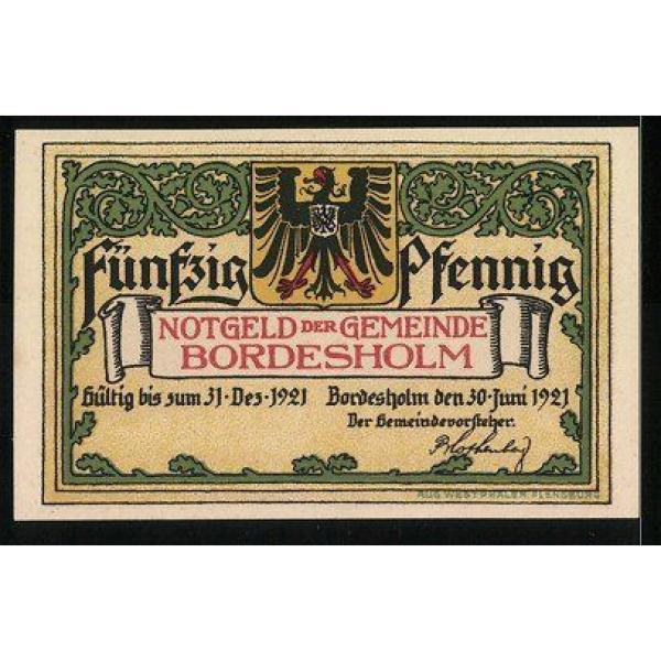 Notgeld Bordesholm 1921, 50 Pfennig, Stadtwappen, die große Linde #2 image