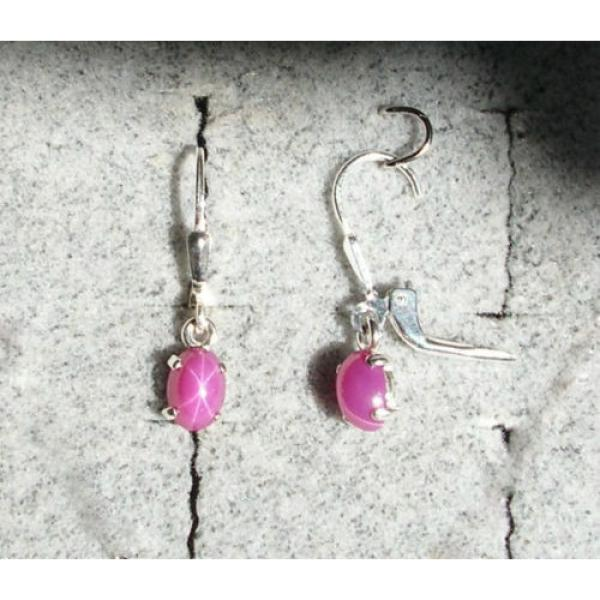 VINTAGE LINDE LINDY PINK STAR RUBY CREATED SAPPHIRE LEVER BACK EARRINGS .925 SS #1 image