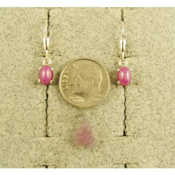 VINTAGE LINDE LINDY PINK STAR RUBY CREATED SAPPHIRE LEVER BACK EARRINGS .925 SS #2 image