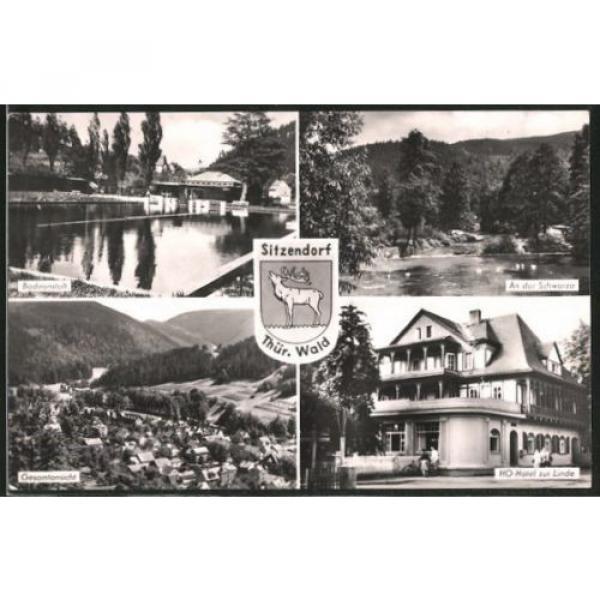 schöne AK Sitzendorf, HO-Hotel zur Linde, Badeanstalt, An der Schwarza 1964 #1 image