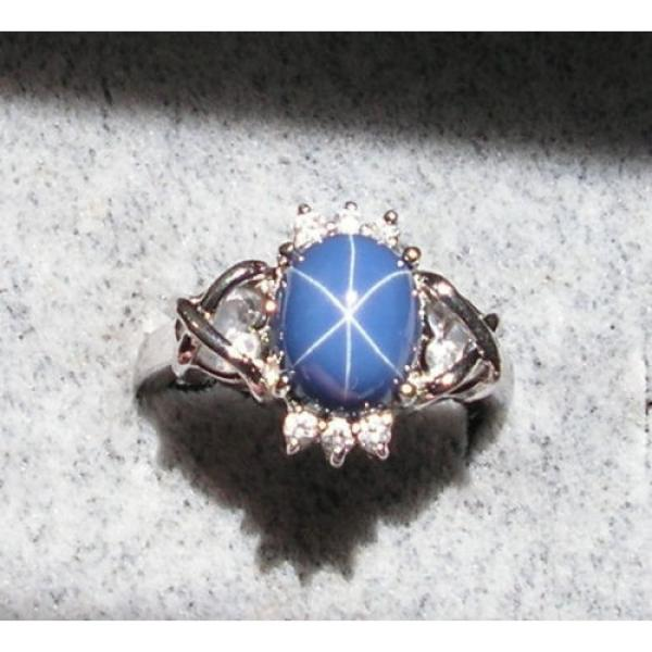 VINTAGE SIGNED LINDE LINDY CF BLUE STAR SAPPHIRE CREATED C H RING RD PLT .925 SS #1 image