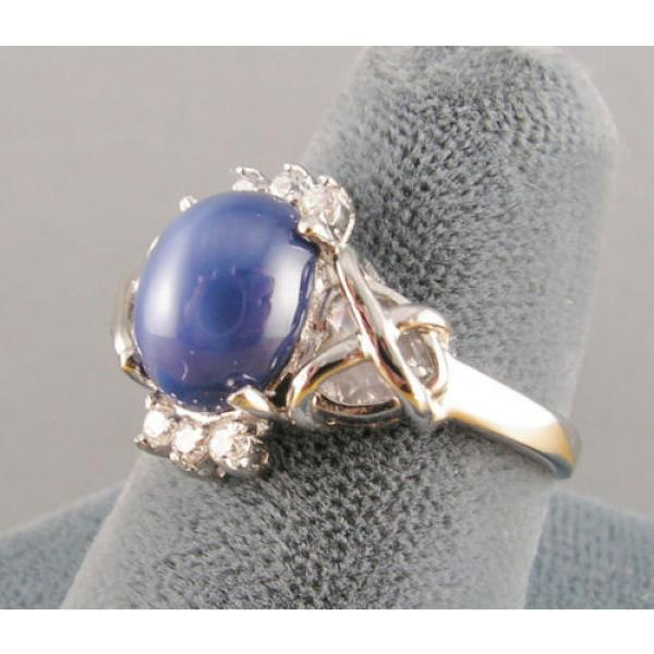 VINTAGE SIGNED LINDE LINDY CF BLUE STAR SAPPHIRE CREATED C H RING RD PLT .925 SS #3 image