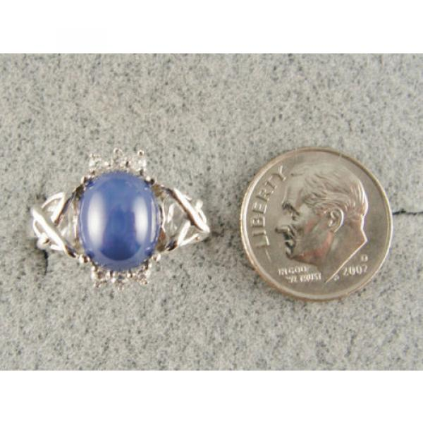 VINTAGE SIGNED LINDE LINDY CF BLUE STAR SAPPHIRE CREATED C H RING RD PLT .925 SS #4 image