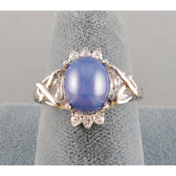 VINTAGE SIGNED LINDE LINDY CF BLUE STAR SAPPHIRE CREATED C H RING RD PLT .925 SS #5 image