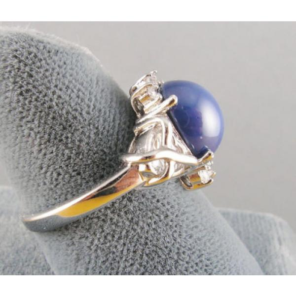 VINTAGE SIGNED LINDE LINDY CF BLUE STAR SAPPHIRE CREATED C H RING RD PLT .925 SS #6 image