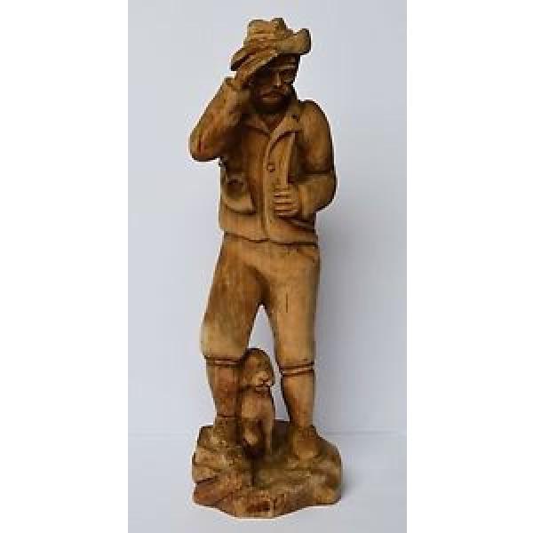 Holz Skulptur Holzfigur handgeschnitzt Linde Jäger mit Jagdhund Hund Höhe 56 cm #1 image