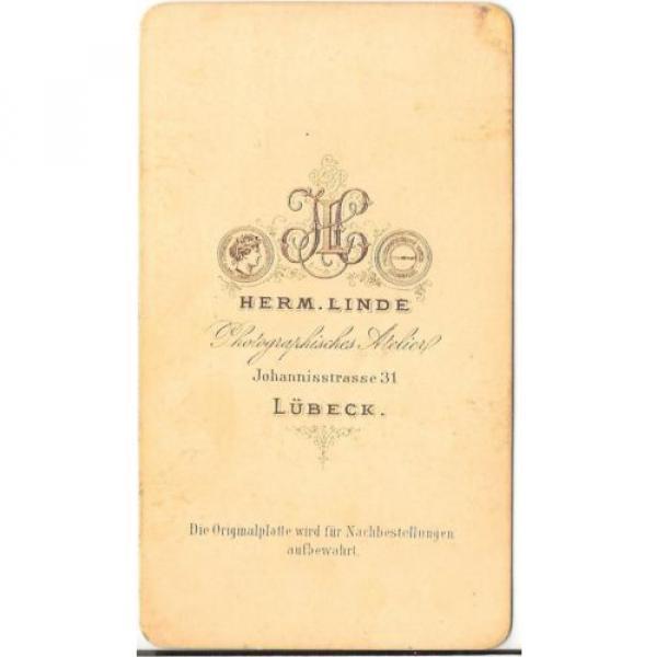 Herm. Linde CDV photo Damenportrait - Lübeck 1870er #2 image