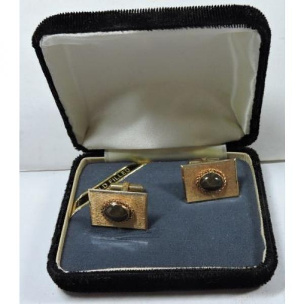 NOS Antique Destino Cats Eye Linde Star 12k Yellow Gold GF Cuff Links w Box Z500 #1 image