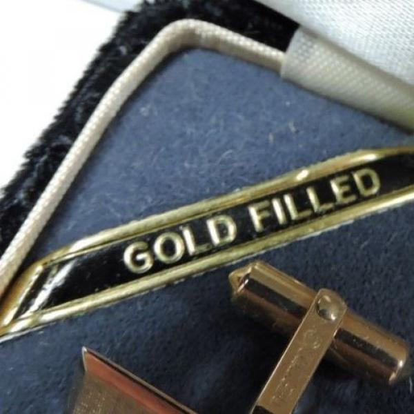 NOS Antique Destino Cats Eye Linde Star 12k Yellow Gold GF Cuff Links w Box Z500 #4 image