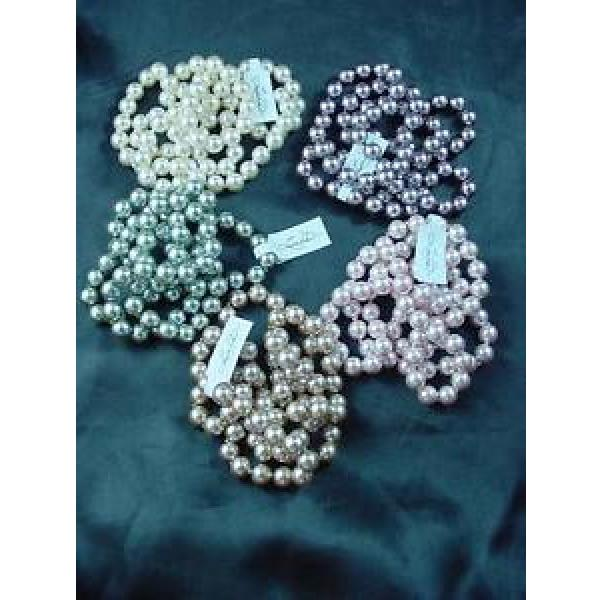 """5 Strand Linde Der 34"""" Faux Pearls Lot Lustrous Knotted Pink Cream Green #1595 #1 image"""