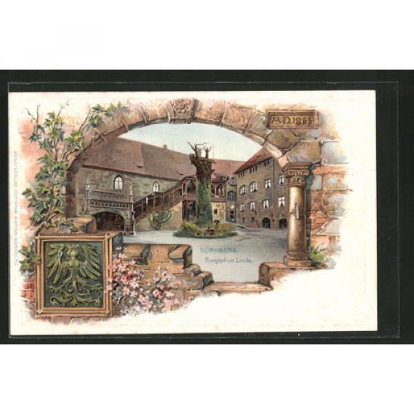 alte Passepartout-Lithographie Nürnberg, Burghof mit Linde, Stadtwappen #1 image