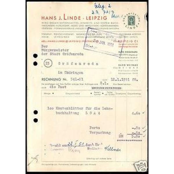 Rechnung, Fa. Hans J. Linde, Leipzig, Bürobedarf, 12.1.51 #1 image