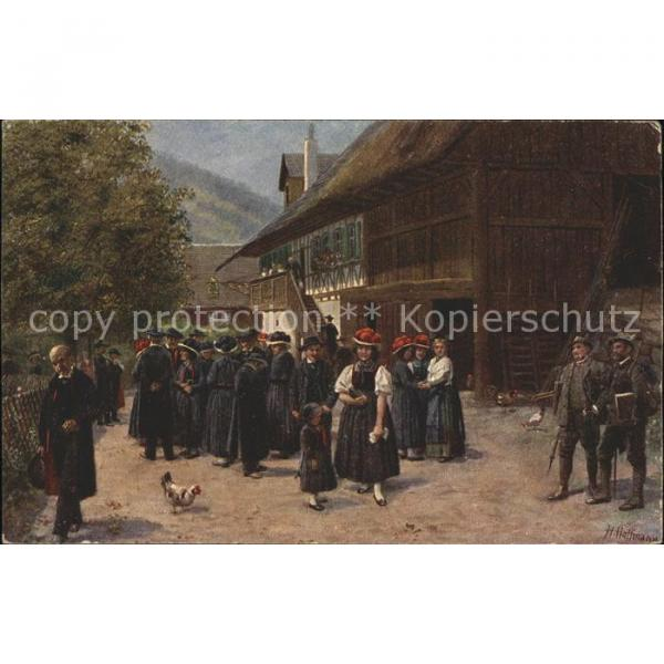 41610662 Hoffmann Heinrich Schwarzwald Trachten Gutach Linde Kuenstlerkarte #1 image