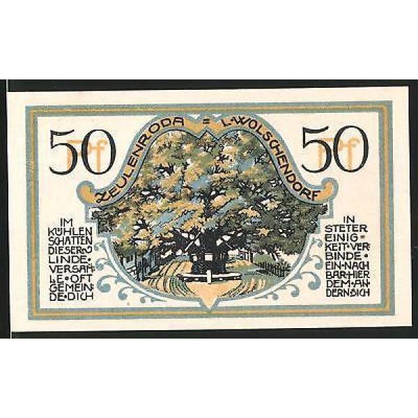 Notgeld Zeulenroda 1921, 50 Pfennig, alte Linde, Wappen #1 image