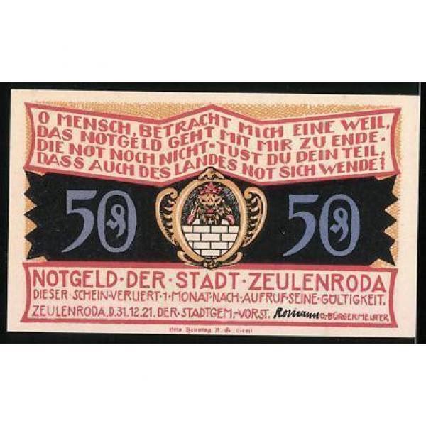 Notgeld Zeulenroda 1921, 50 Pfennig, alte Linde, Wappen #2 image