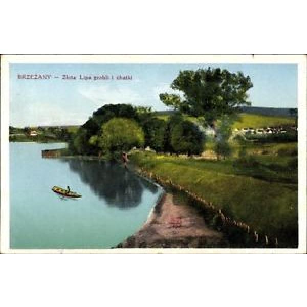 Ak Brzezany Ukraine, Gelbe Linde, Flusspartie, Blick zum Ort,... - 1448914 #1 image
