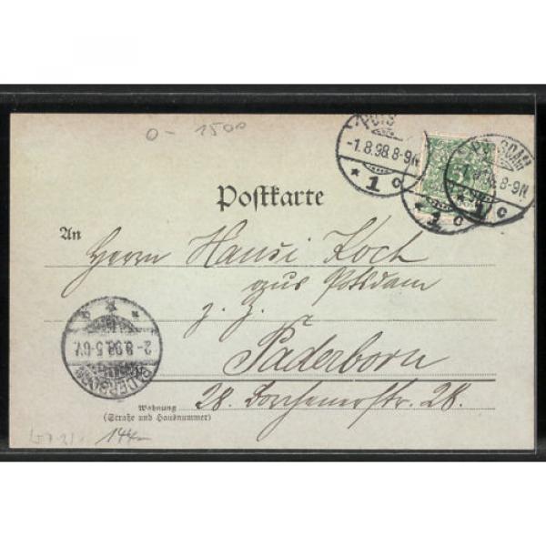tolle Mondschein-AK Potsdam, Kgl. Stadtschloss mit der Bittschriften-Linde 1898 #2 image
