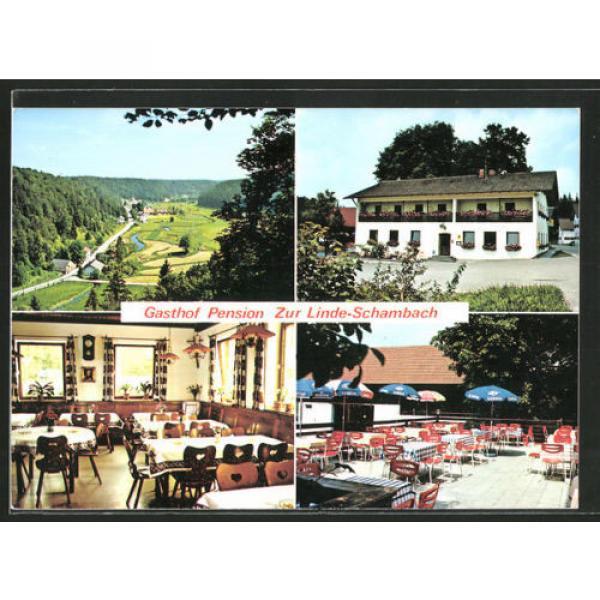 schöne AK Schambach, Gasthof-Pension Zur Linde mit Gastraum und Terrasse #1 image