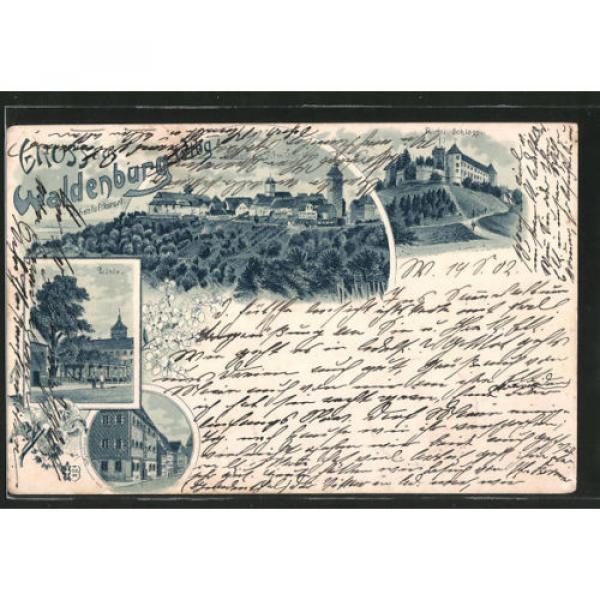 Lithographie Waldenburg, Fürstl. Schloß, Linde, Straßenpartie, Ortsansicht 1902 #1 image