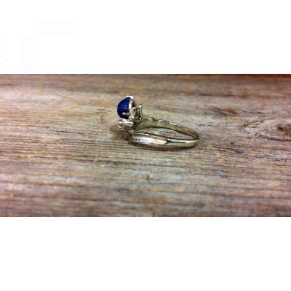 14k White Gold Linde Star Sapphire Ring with Diamonds #4 image