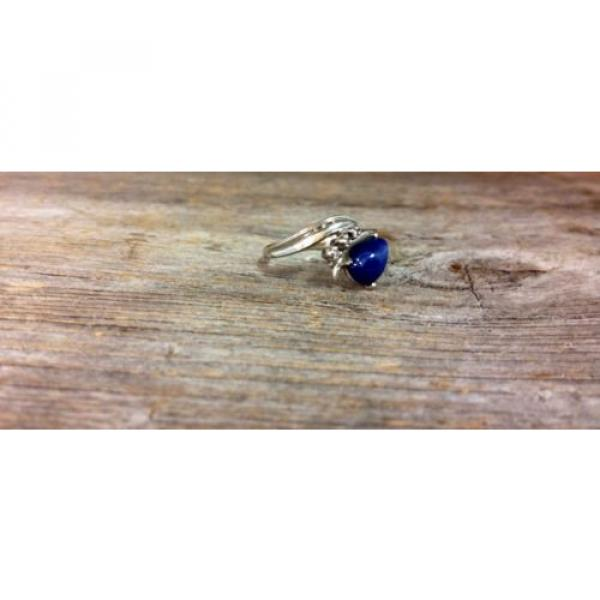 14k White Gold Linde Star Sapphire Ring with Diamonds #7 image