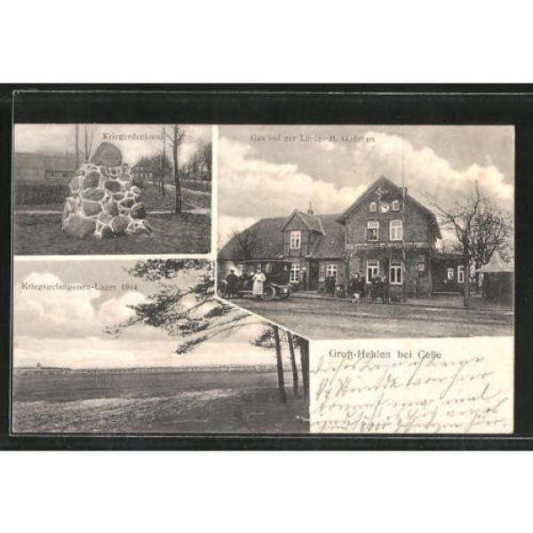 AK Groß-Hehlen, Gasthof zur Linde, Kriegsgefangenen-Lager 1914, Kriegerdenkmal #1 image