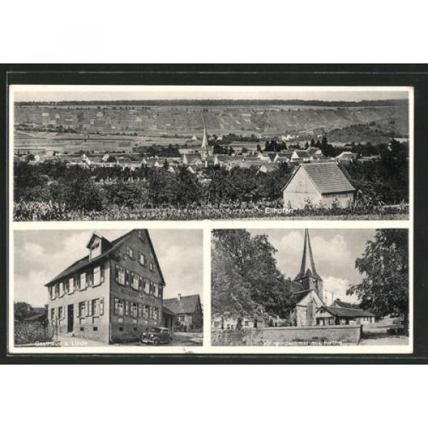 schöne AK Ellhofen, Gasthaus zur Linde, Kriegerdenkmal mit Kirche, Gesamtansich #1 image