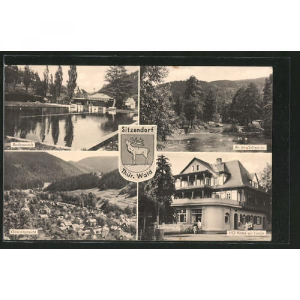 AK Sitzendorf, Badeanstalt, An der Schwarza, HO-Hotel zur Linde, Gesamtansicht, #1 image