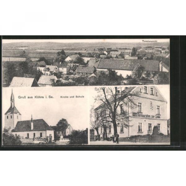 schöne AK Köhra, Restaurant zur Linde, Totalansicht, Kirche #1 image