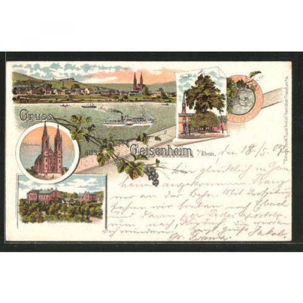 Lithographie Geisenheim, Pfarrkirche, Linde, Dampfer passiert den Ort 1907 #1 image