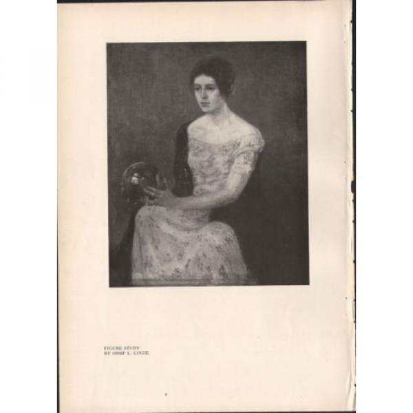 Pensive Woman Holding a Crystal Ball  - 1918 Vintage Print - Ossip L Linde #2 image