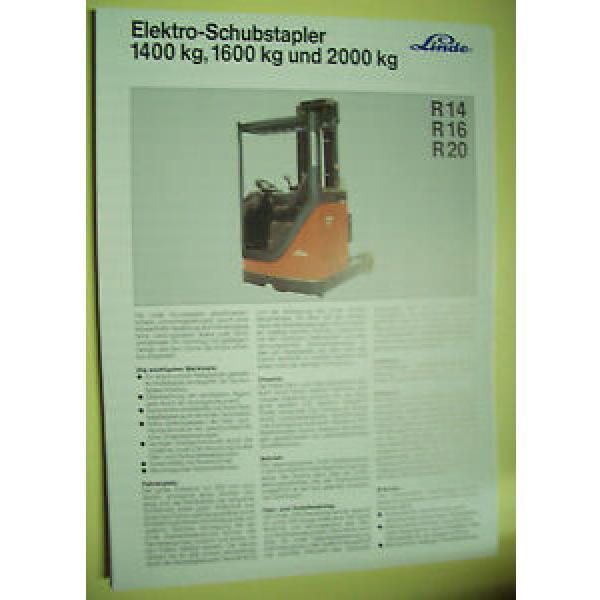 Sales Brochure Original Prospekt Linde Elektro-SchubStapler R14, R16, R20 #1 image