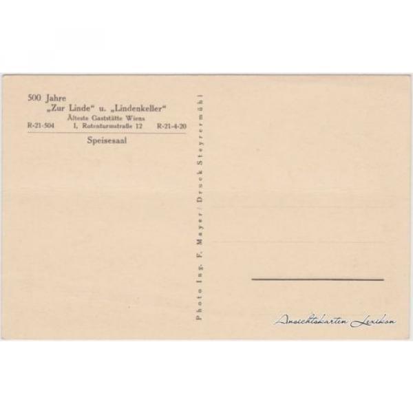 Ansichtskarte Wien Zur Linde und Lindenkeller - Speisesaal 1930 #2 image